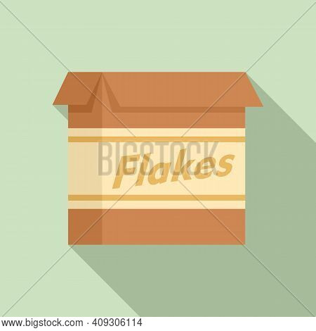 Cereal Flakes Package Icon. Flat Illustration Of Cereal Flakes Package Vector Icon For Web Design