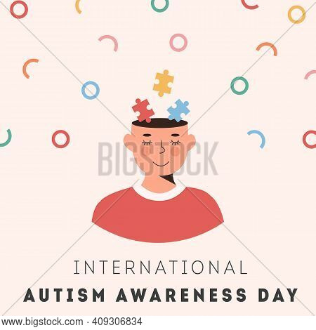 International Autism Awareness Day Card. Smiling Person Face With Colourful Puzzle Pieces In Head. P