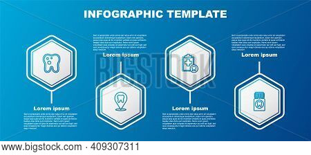Set Line Tooth With Caries, Dental Clinic Location, Card And Painkiller Tablet. Business Infographic