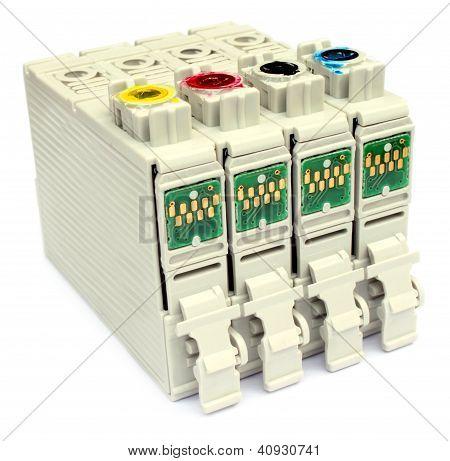 Printer cartridge over white background