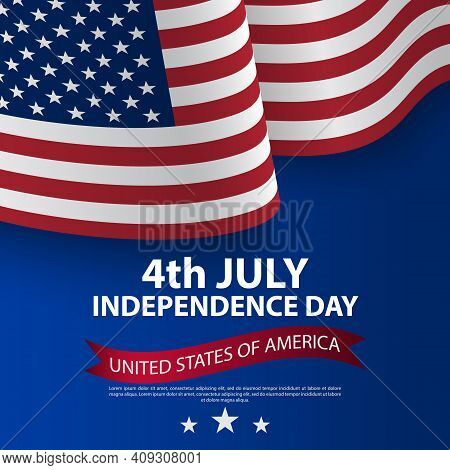 Happy 4th Of July Usa Independence Day With Waving American National Flag. Fourth Of July Independen