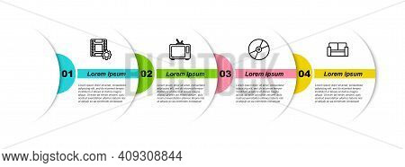 Set Line Play Video, Retro Tv, Cd Or Dvd Disk And Cinema Chair. Business Infographic Template. Vecto