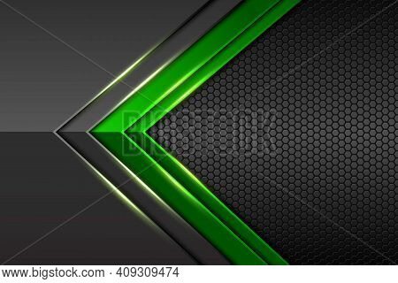 Abstract Green Gradient Arrow On Black With Hexagon Mesh And Blue Shadow Design Modern Luxury Futuri