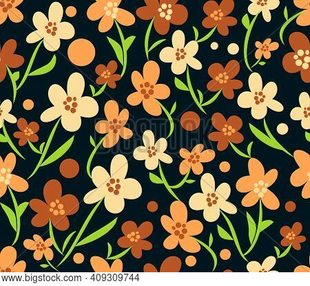 Retro Flourish Seamless Patterns In Brown, Beige And Orange Design With Green Stems, Black Backgroun