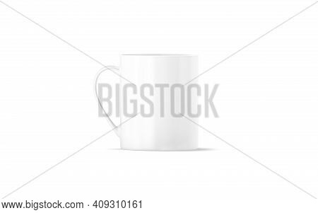 Blank Ceramic 11oz Mug With Handle Mockup Stand, Front View, 3d Rendering. Empty Ceramics Glassful F