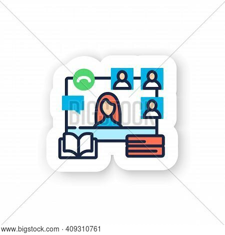 Online Book Club Color Sticker. Meeting Together Badge For Designs. Internet Streaming Website. Soci