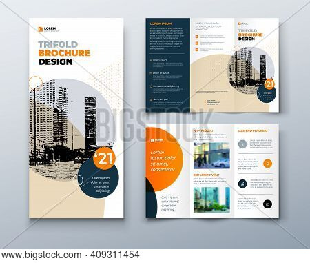 Tri Fold Orange Brochure Design With Square Shapes, Corporate Business Template For Tri Fold Flyer.