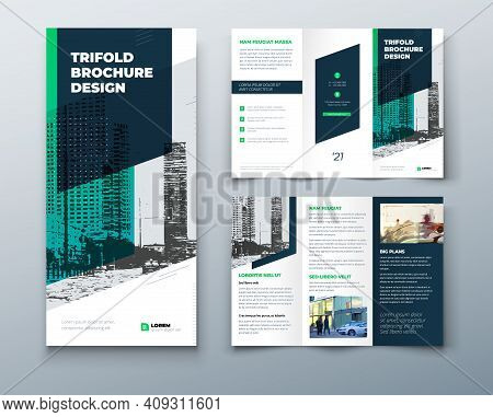 Tri Fold Green Brochure Design With Square Shapes, Corporate Business Template For Tri Fold Flyer. T