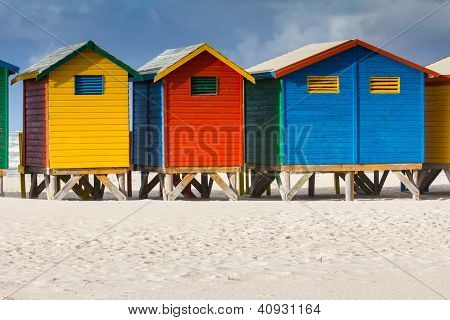 Colorful Beach Huts At Muizenberg Beach