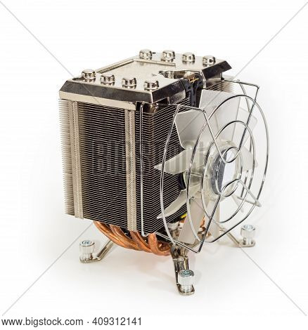 Active Cpu Cooler With Large Finned Heatsink, Fan, Copper Thermal Pad With The Heat Pipes On A White