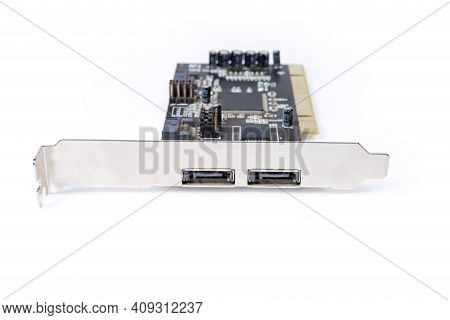 Old Disk Array Controller Internal Card For Sata Hard Disk Drives For Pc On A White Background, View