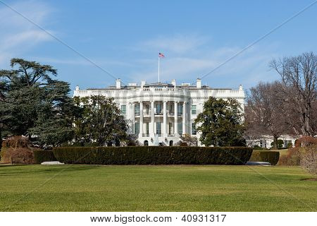 The White House In Washington Dc On Sunny Winter Day