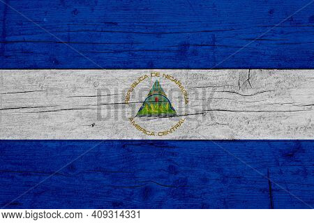 Flag Of Nicaragua. Wooden Texture Of The Flag Of Nicaragua.
