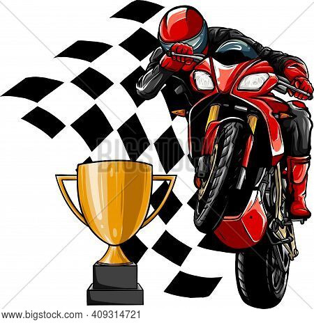 Riders On Sport Motorbike With Cup And Race Flag