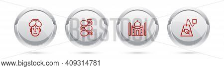 Set Line Indian Man, Tandoori Chicken, Taj Mahal And Tea Bag. Silver Circle Button. Vector