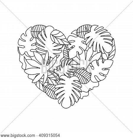 Doodle Leaves In Heart Shape Background. Zentangle Pattern Design For Coloring Book Page.
