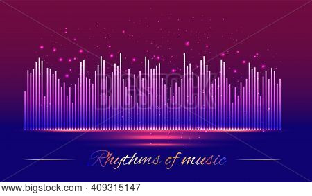Rhythms Of Music. Digital Sound Waves On Red And Blue Background, Technology And Earthquake Wave Con