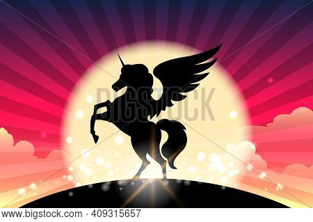 Silhouette Of Prancing Unicorn With Wings. Vector Illustration.