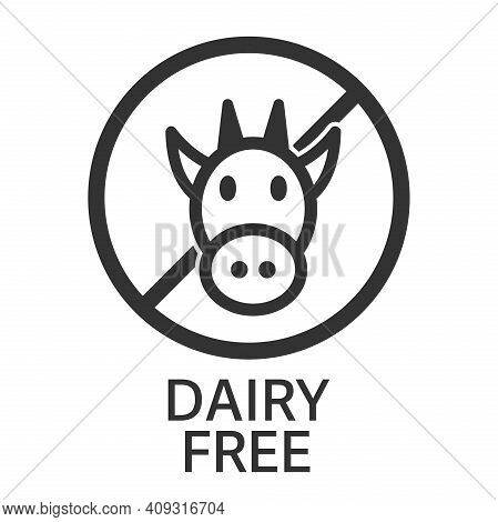 Dairy Free Symbol Or Label With Head Of Cow Vector Illustration