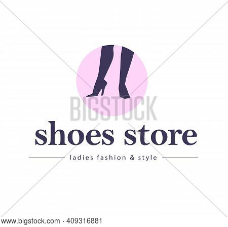 Shoes Store Emblem Concept Isolated On White Background. Pair Of Woman Elegant High Heeled Boots On