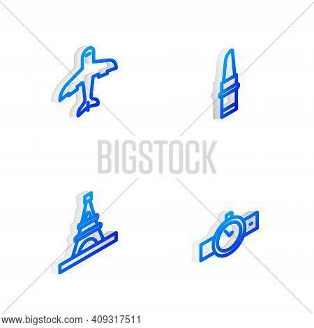 Set Isometric Line Lipstick, Plane, Eiffel Tower And Wrist Watch Icon. Vector