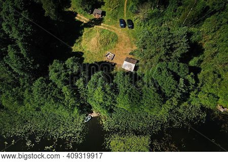 Top View Of The Tourist Base And Bolta Lake In The Forest In The Braslav Lakes National Park At Dawn