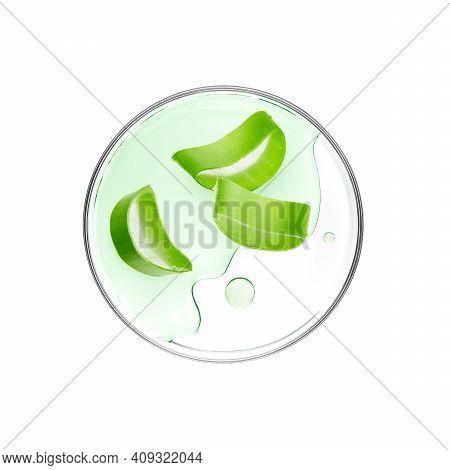 Sliced Aloe Vera With Essence On Petri Dish Over White Background