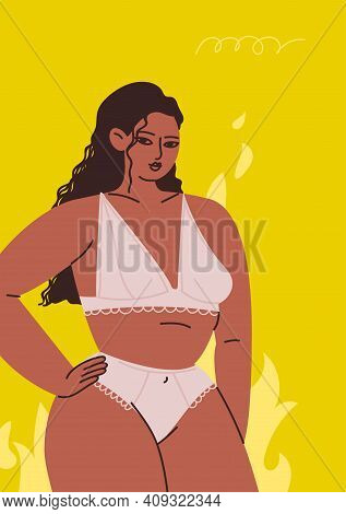 Poster With A Woman In Lingerie. Young Woman On A Yellow Background. A Tanned Brunette Stands Agains