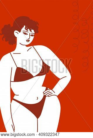 A Young Woman In A Swimsuit On A Red Background. The Close-up Female Body In Underwear. Woman With C