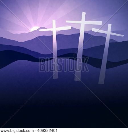 An illustration of three crucifix at the hill with sunset