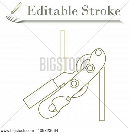 Alpinist Rope Ascender Icon. Editable Stroke Simple Design. Vector Illustration.