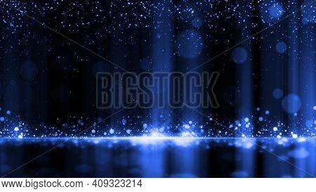 Dark Blue Particles Night Awards Background. Abstract Blue Particle Glitter Luxury Background.