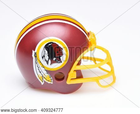 IRVINE, CALIFORNIA - AUGUST 30, 2018: Mini Collectable Football Helmet for the Washington Redskins of the National Football Conference East.