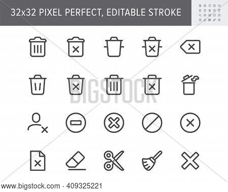 Delete Simple Line Icons. Vector Illustration With Minimal Icon - Trash Can, Waste, Garbage, Dustbin