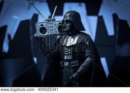 FEB 20 2021: Star Wars Sith lord Darth Vader and a boombox - Hasbro action figure