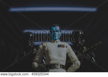 FEB 20 2021: Star Wars Imperial Grand Admiral Thrawn with Deathtrooper security detail  - Hasbro action figure