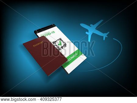 Concepts Of Reopening Of Airplane Travel In New Normal And Covid-19 Pandemic. Illustration Of Airpla