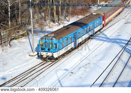 A Passenger Motor Train Enters The Ostrava-město Railway Station, 20.2.2021, Ostrava, Czech Republic