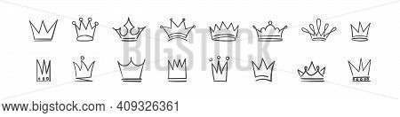 Crown Icons Set. Sketch Crown. Doodle Crown Set, Hand Drawn Icons. Vector Illustration