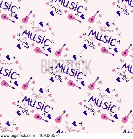 Love Music Seamless Pattern With Country Guitar, Music Notes, Treble Clef, Hearts, Decorative Elemen