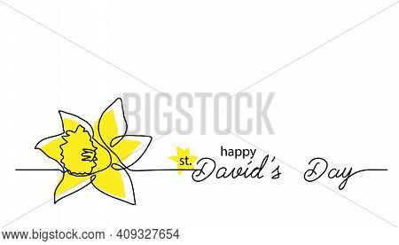 Saint David S Day Feast Simple Vector Banner, Poster, Background. One Continuous Line Drawing Of Nar