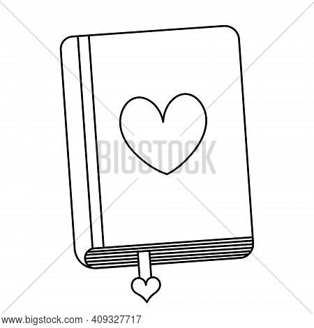 Diary For Love Notes. Bookmark Among The Sheets. Sketch. Heart On The Cover. Closed. Doodle Style. A