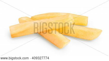 French Fries Or Fried Potatoes Isolated On White Background With Clipping Path And Full Depth Of Fie