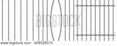Set Of Realistic Prison Metal Bars Isolated On White Background. Iron Jail Cage. Prison Fence Jail.