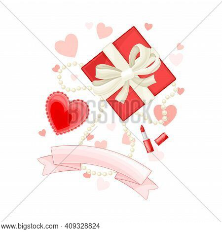 Wrapped With Ribbon Gift Box, Bead Necklace And Heart Vector Composition