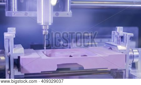 Automated Milling Machine Cutting Wooden Workpiece From Wood Pulp, Making 3d Model At Technology Exh