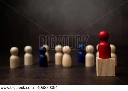 The Leadership Of The Wooden Figure Standing On The Box Show Influence And Empowerment. Concept Of B