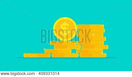 Coin Money Stack. Pile Of Gold Dollar. Icon Of Golden Cent And Penny. Treasure And Income Isolated O
