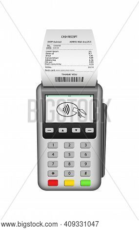 Pos Terminal. Pos Machine For Payment. Nfc Pay With Invoice. Card Pay In Terminal With Receipt. Real