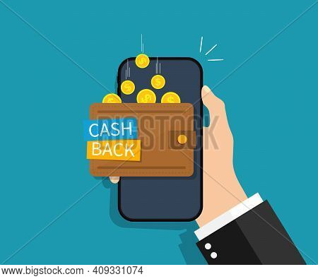 Cash Back In Smartphone. Cashback Of Money. Refund Of Coin In Wallet Of Phone. Coins Fall In Smartph